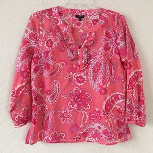 Talbots Coral Paisley Floral Top size SP